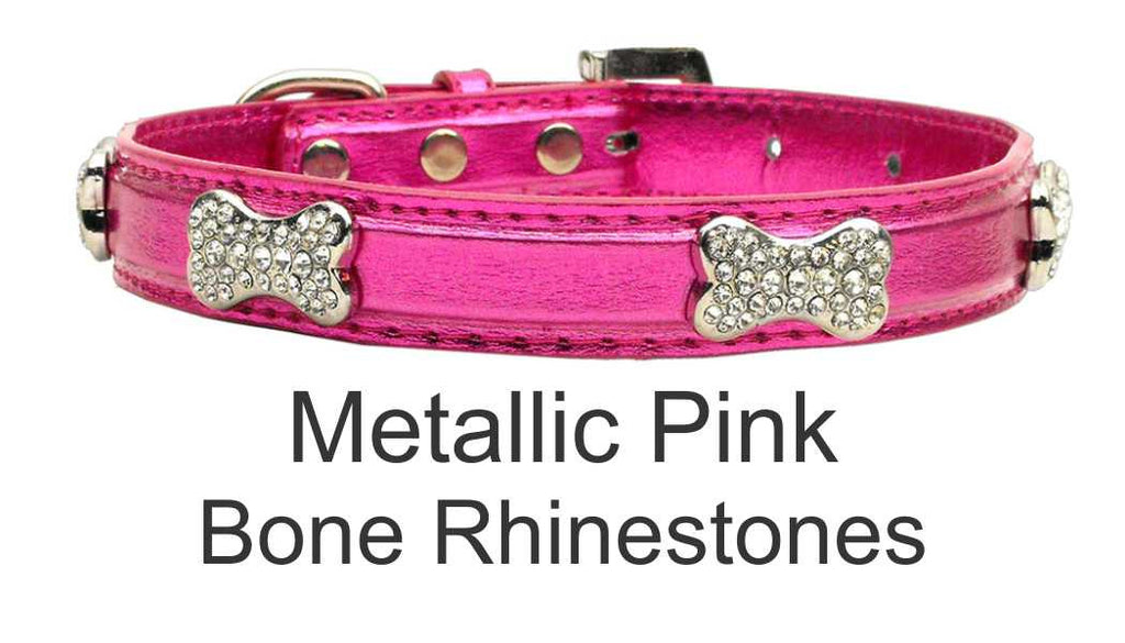 Metallic Collar with Rhinestone Dog Bones