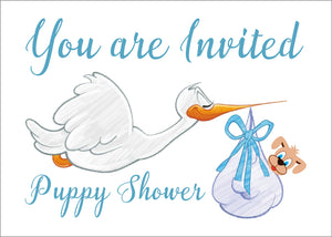 Postcard Invitations for a Puppy Shower for a Boy Puppy