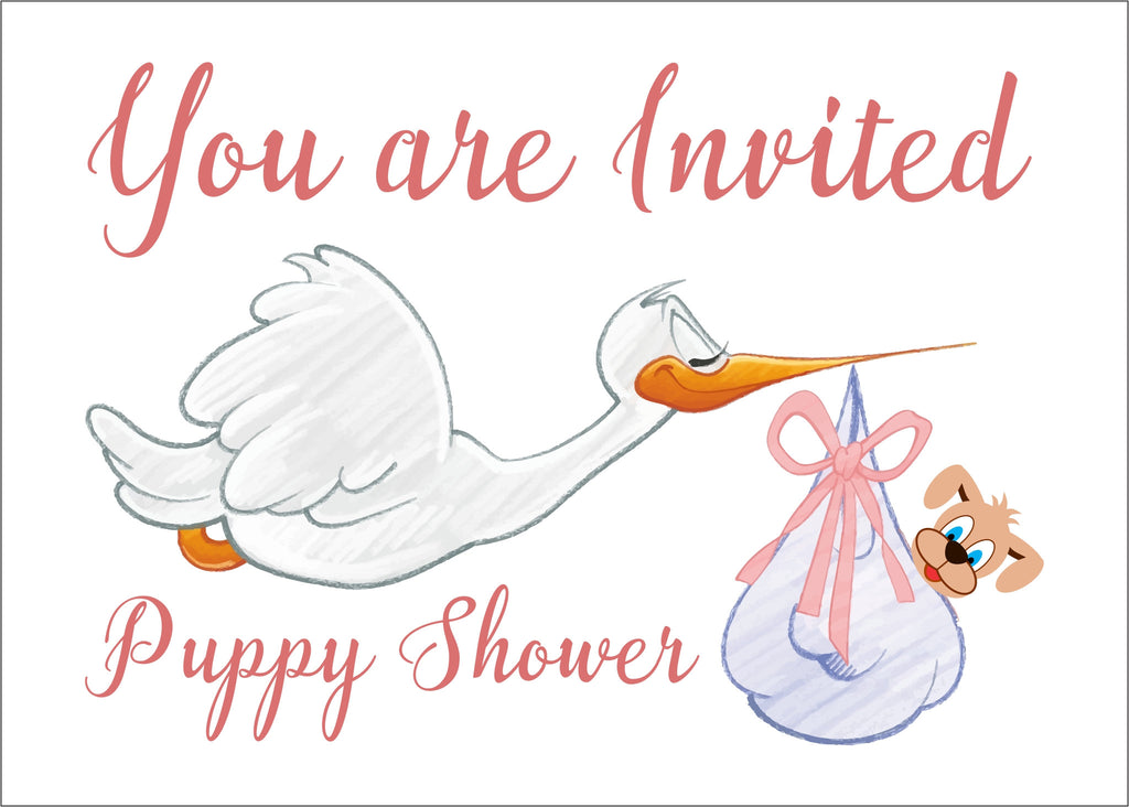 Postcard Invitations for a Puppy Shower for a Girl Puppy