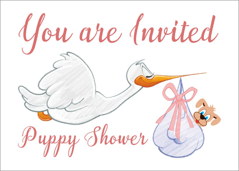 Puppy Shower Postcard Invitations