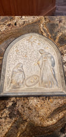 Arched Nativity Metal Relief