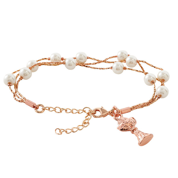 Rose Gold and pearl communion bracelet
