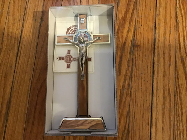 "8"" Standing St Benedict Crucifix/ wood inlay"