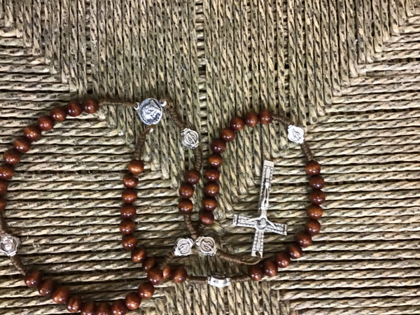 Corded Rosary with wooden beads