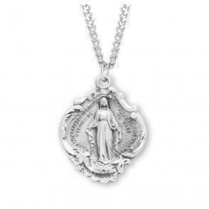 Sterling Large Miraculous Medal,  Hail Mary on Back of Medal