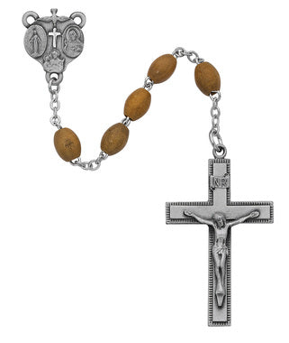 Olive Wood Rosary with Deluxe Center & Crucifix