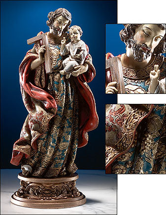 St. Joseph & Child Statue W/Ornate Base