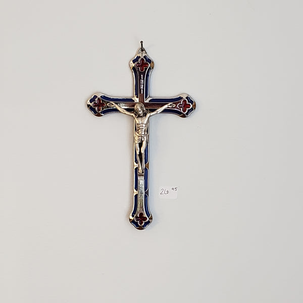 Blue Enamel Crucifix