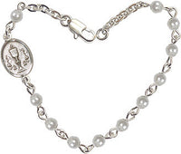 6 1/4 inch Silver Plate Bracelet with 4mm Faux Pearl Beads and Pewter Chalice Charm.