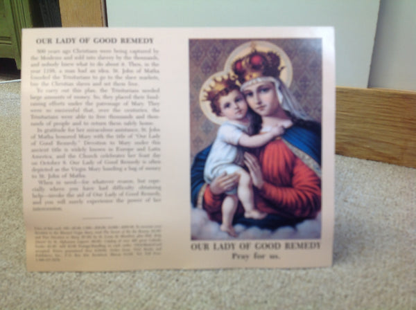 Our Lady of Good Remedy prayer card