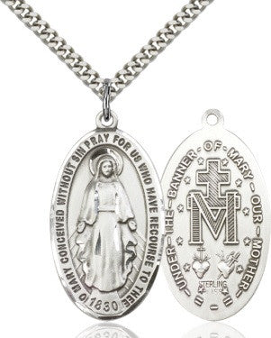 Miraculous Medal - Large Oval- Sterling Silver