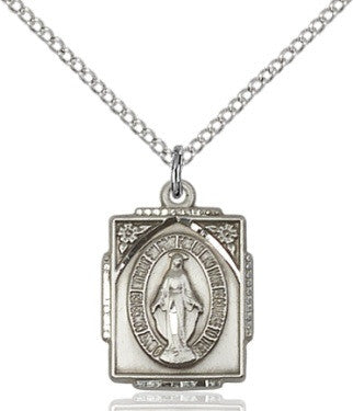 Miraculous Medal - Square- Sterling Silver