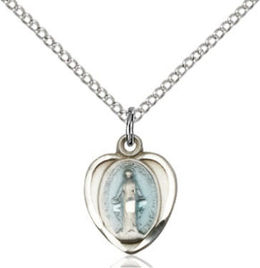 Miraculous Medal - Heart - Sterling Silver