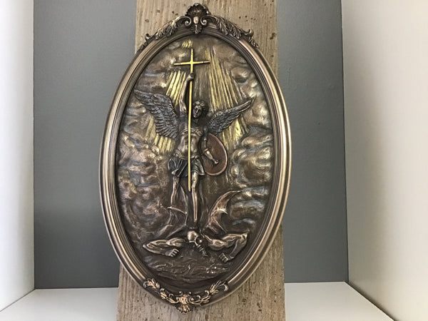 Bronze St Michael Oval Wall Plaque