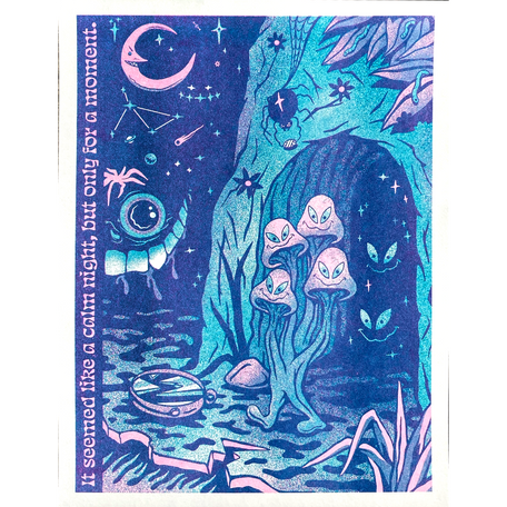 At Night Riso Print