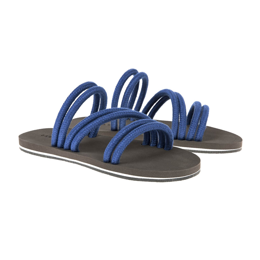 BLUE MULTI-STRAPPED LINEN CORD SANDAL WITH BICOLORED MICRO SOLE