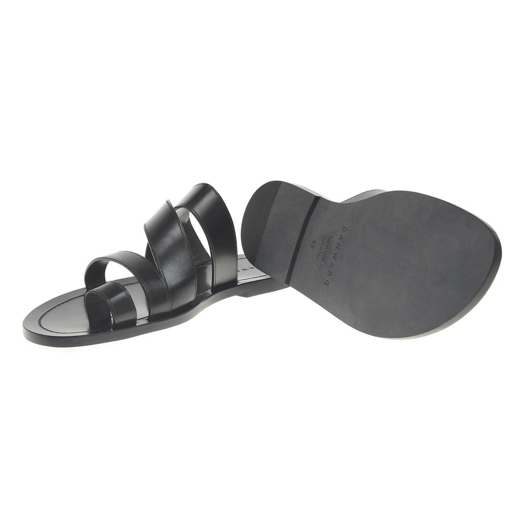 MULTI STRAP LEATHER SLIDE