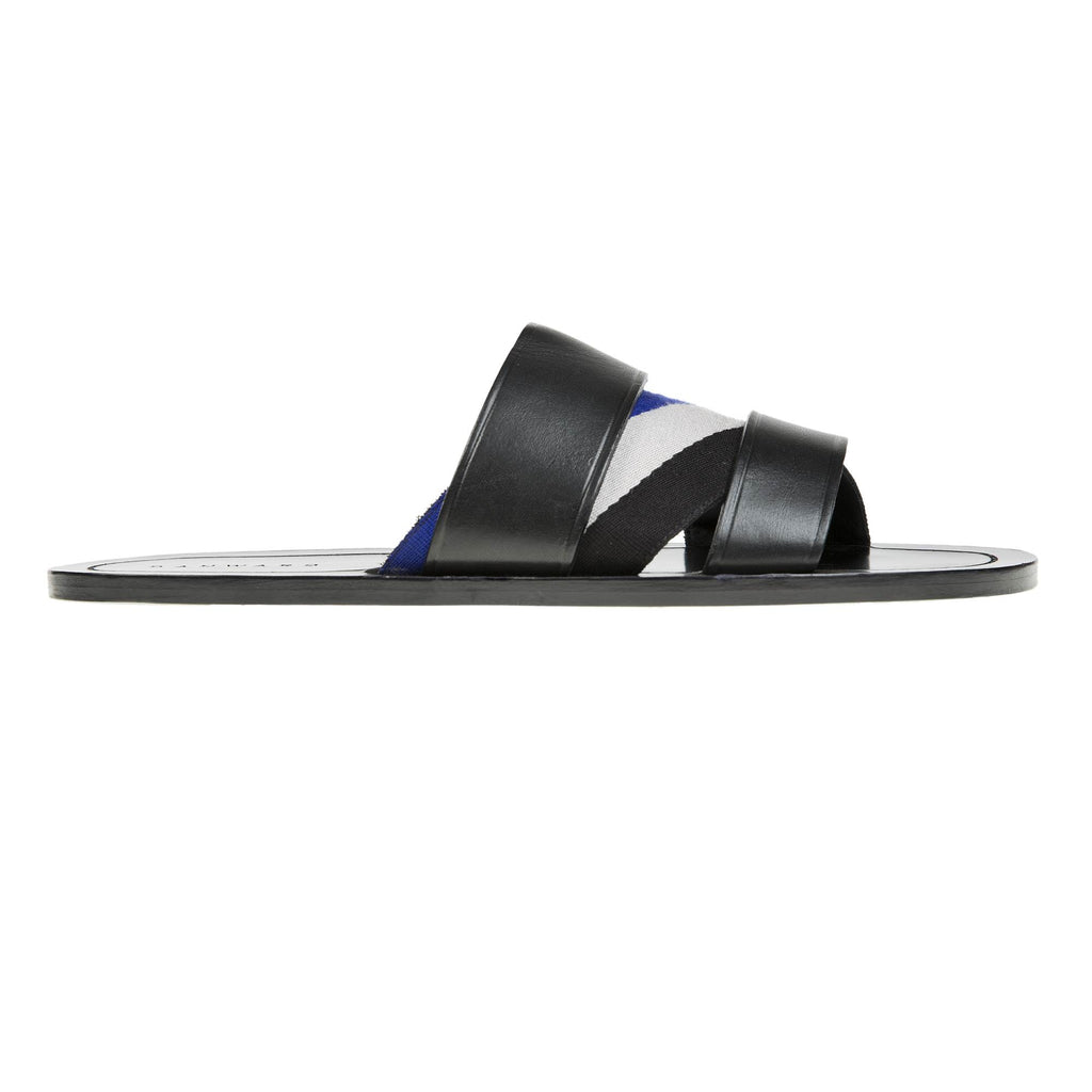 LEATHER SANDAL WITH ASYMMETRIC WEBBING AND HALF RUBBER SOLE