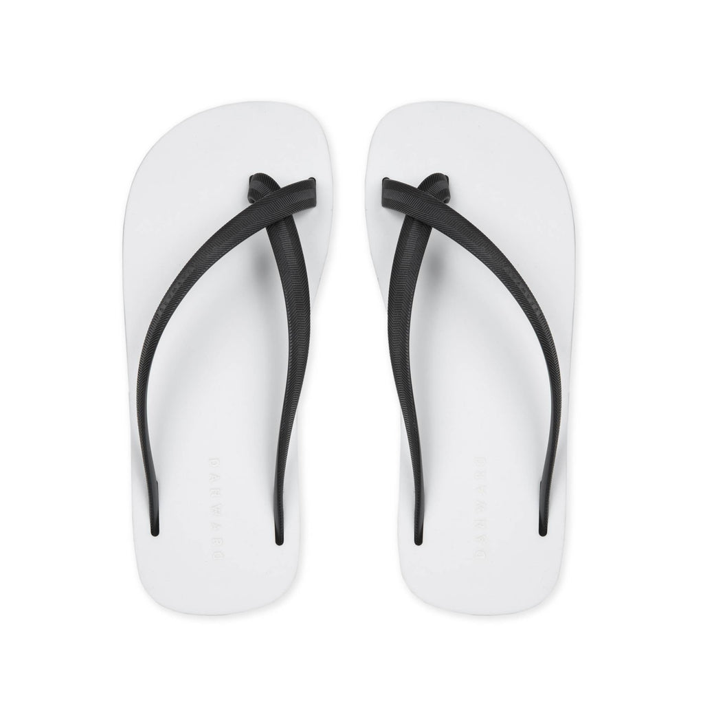 BICOLORED CROSS TOE FLIP-FLOP, WHITE WITH BLACK