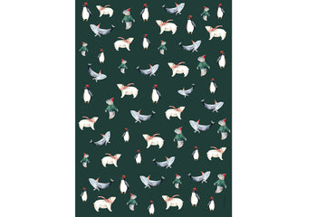 3 Sheets of Wrapping Paper Christmas Animals