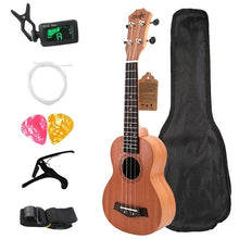 "Load image into Gallery viewer, Soprano Ukulele 21"" Mahogany Wood Beginner Ukulele 4 String"