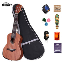 "Load image into Gallery viewer, Acouway Concert Ukulele Soprano/Tenor 21"" 24"" 26"" Sapless Aquila String optional Bag Tuner Strap"