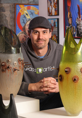 Alexi Hunter, glass artist, glass blower, glass designer