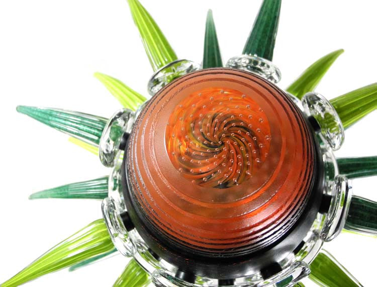Zero Point - Black, Orange and Green - Glass Art - Kingston Glass Studio - Blown Glass - Glass Blowing