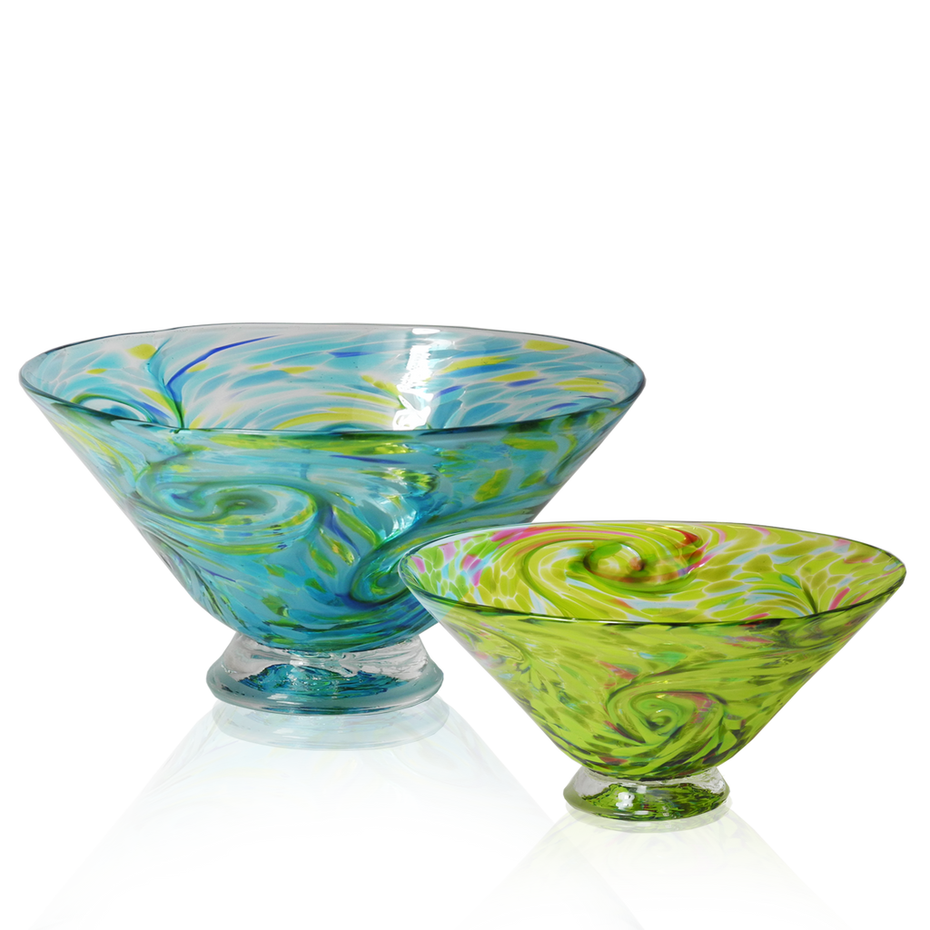 Bright Starry Bowls - Glass Art - Kingston Glass Studio - Blown Glass - Glass Blowing