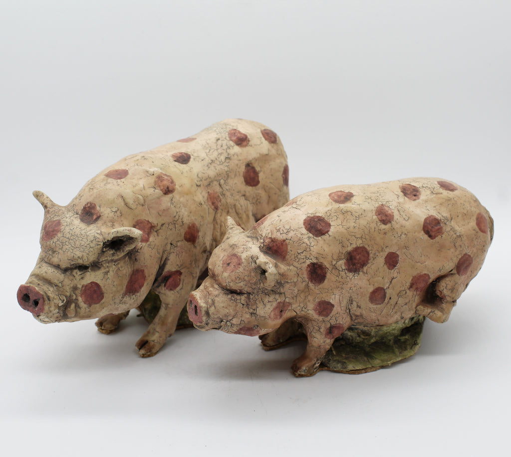 Ironic Polka Dotted Pigs (pair) - Glass Art - Kingston Glass Studio - Blown Glass - Glass Blowing
