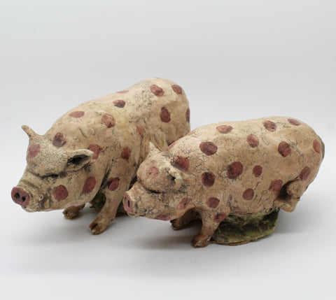Ironic Polka Dotted Pigs (pair)