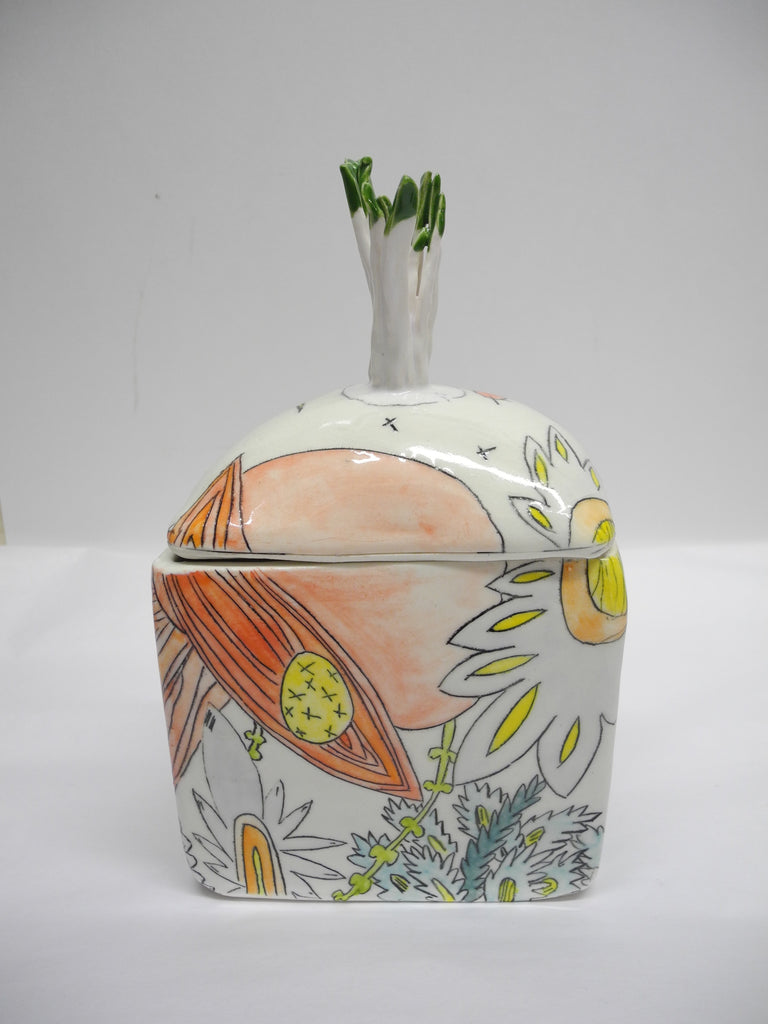 Jewelry Box with Sprouting Lid - Glass Art - Kingston Glass Studio - Blown Glass - Glass Blowing