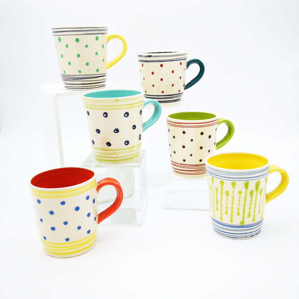 Polka Dot Mug - Glass Art - Kingston Glass Studio - Blown Glass - Glass Blowing