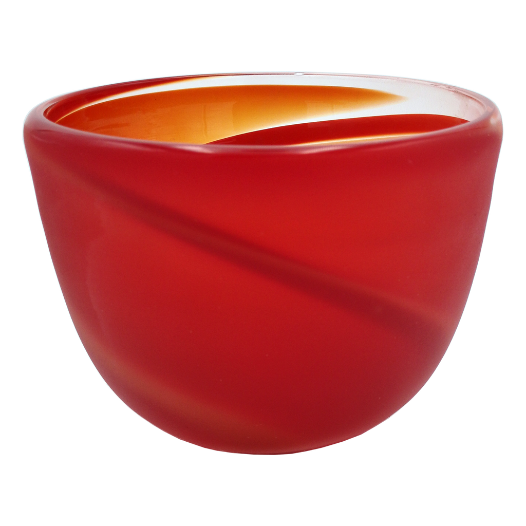 Red Swirl Bowl - Glass Art - Kingston Glass Studio - Blown Glass - Glass Blowing