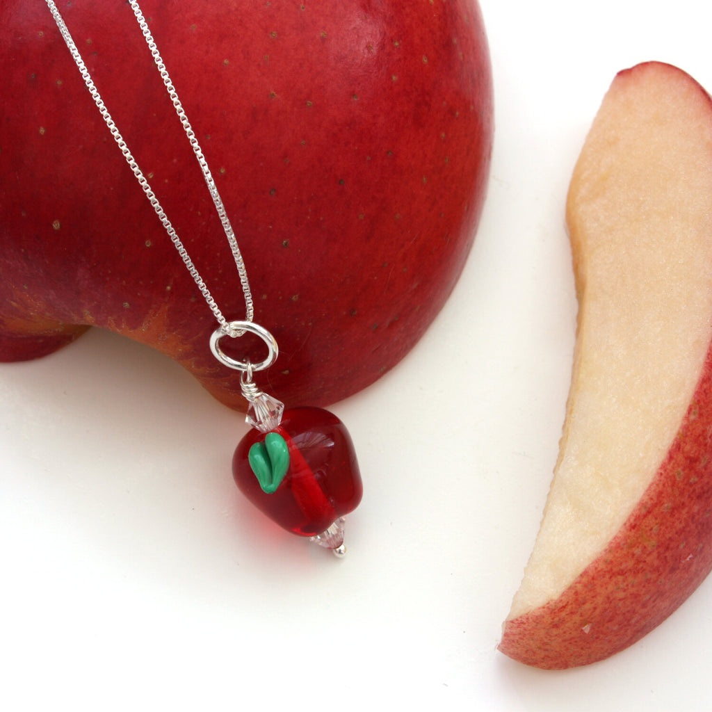 Apple Necklace | Handmade Glass Jewelry | Gift for Teachers