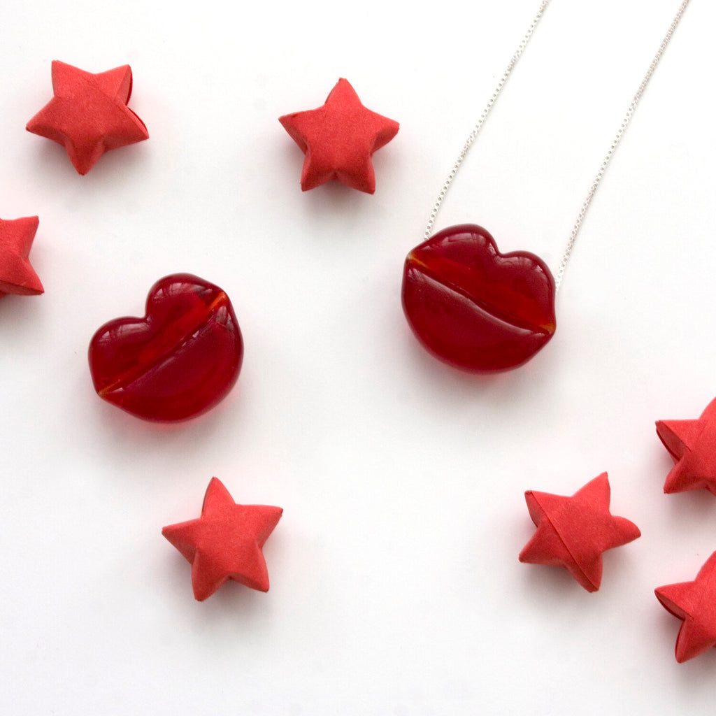 Hot Lips Glass Candy Necklace | Handmade Glass Jewelry | Gifts