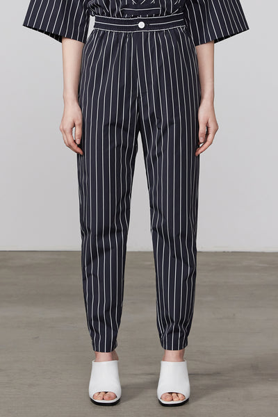 STRIPED EASY TAPERED PANTS