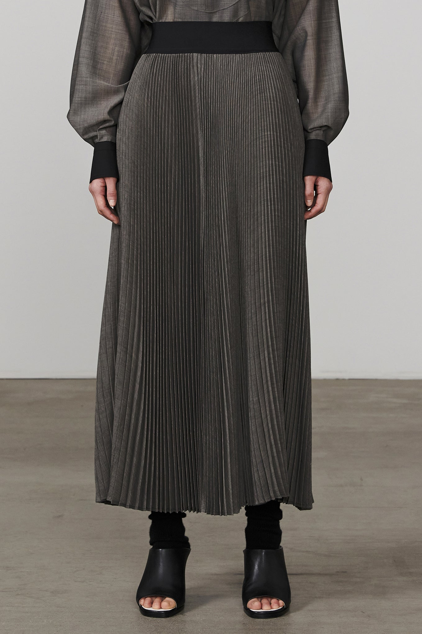 W/P VOILE PLEATED SKIRT