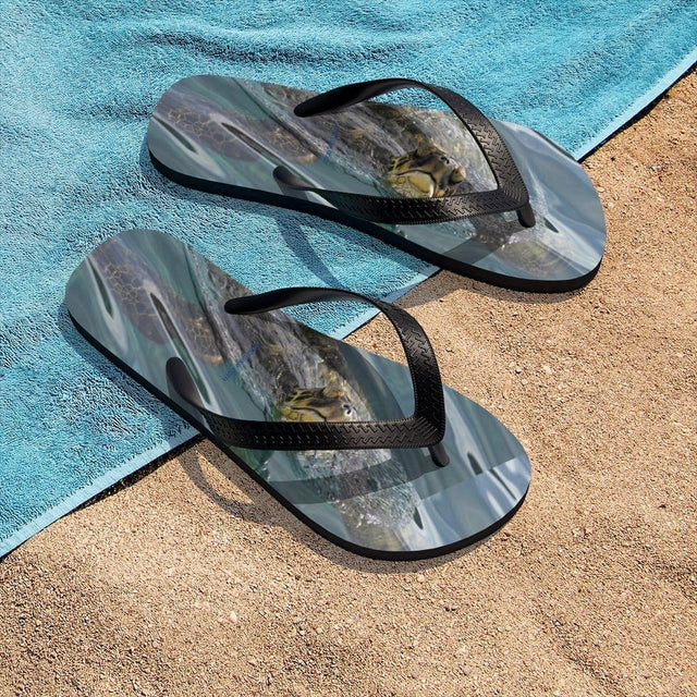 Load image into Gallery viewer, Sea Turtle Unisex Flip-Flops