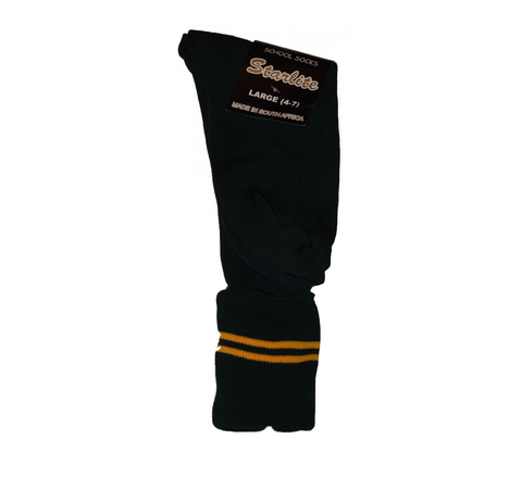 Bottle Green & Gold School Socks