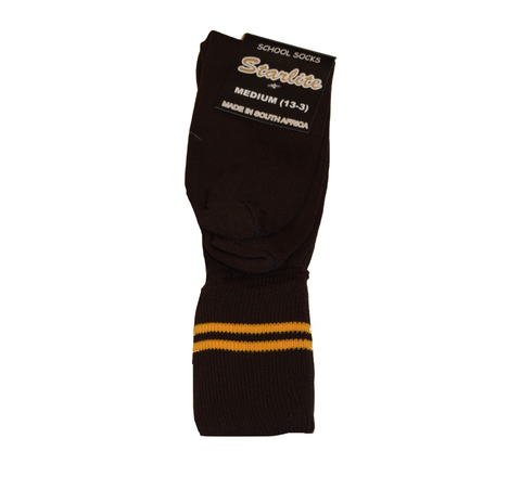 Brown & Gold School Socks