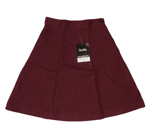 Plain 6 Panel Maroon Skirt