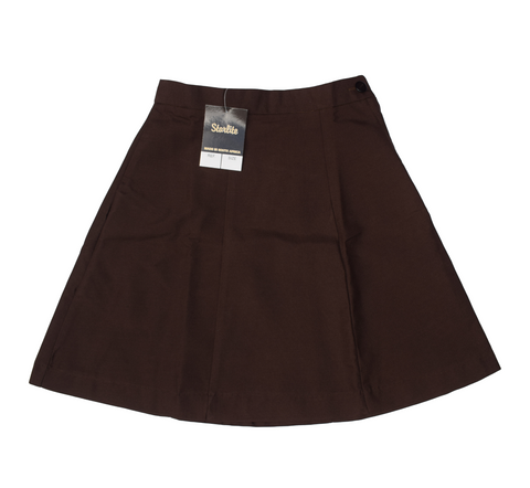 Plain 6 Panel Brown Skirt