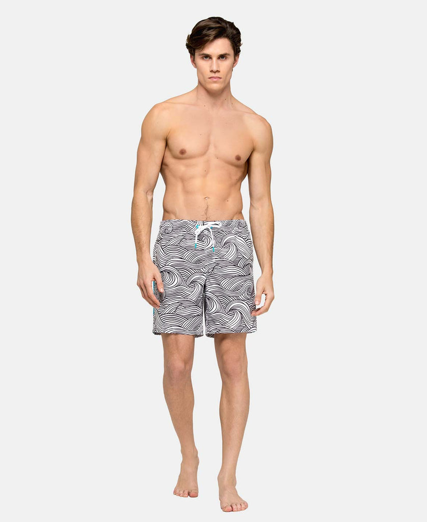 SUNDEK STRETCH WAIST MID-LENGTH SWIM TRUNKS