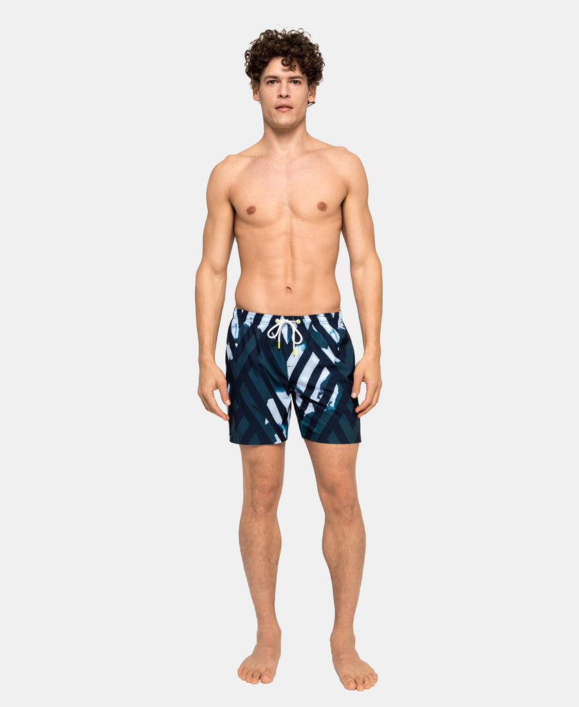 SUNDEK STRETCH WAIST MID-LENGTH SWIM TRUNKS - ICELAND GEO