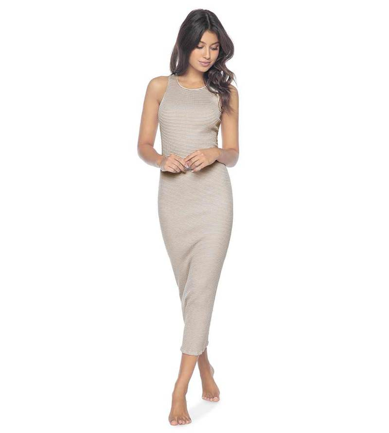 PQ SWIM GREY STRIPE ROYCE MIDI DRESS