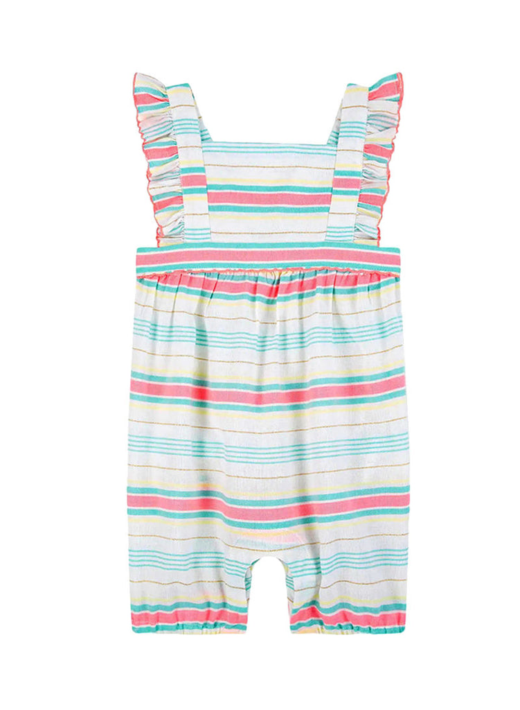 SUNUVA Infant Girls WAFFLE Striped Playsuit White