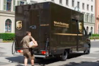 UPS truck and delivery man