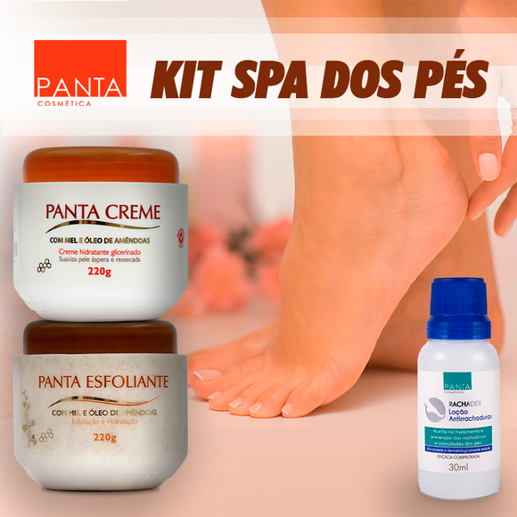 Kit Spa dos pés - Rachadex 30ml, Panta Creme 220g e Panta Esfoliante 220g