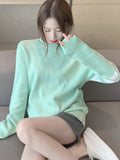 Long-Sleeved Versatile Mid-Length Pullover Sweater Top